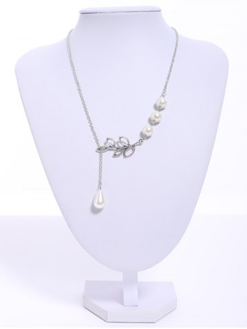 Unique Faux Pearl Embellished Leaf Pendant Necklace AS THE PICTURE