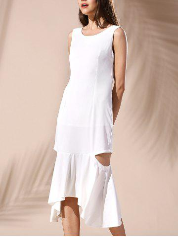 Trendy Hollow Out Mermaid Dress WHITE S