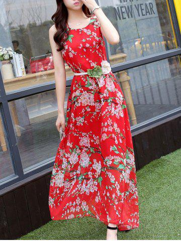 Shop Endearing Tiny Floral Print Scoop Neck Sleeveless Chiffon Dress For Women