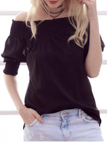 Online Stylish Off-The-Shoulder Ruffled Design Women's Chiffon Blouse