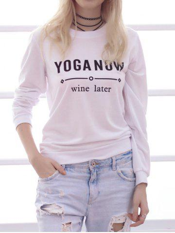 Outfit Simple Style Long Sleeve Round Neck Letter Print Women's Sweatshirt WHITE L