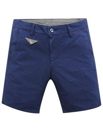 New Casual Zip Fly Summer Solid Color Shorts For Men SAPPHIRE BLUE 33