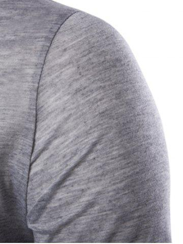 Outfit Asymmetric Top Fly Color Spliced Round Neck Short Sleeves Slimming T-Shirt For Men - L LIGHT GRAY Mobile