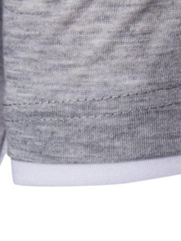 Chic Asymmetric Top Fly Color Spliced Round Neck Short Sleeves Slimming T-Shirt For Men - L LIGHT GRAY Mobile