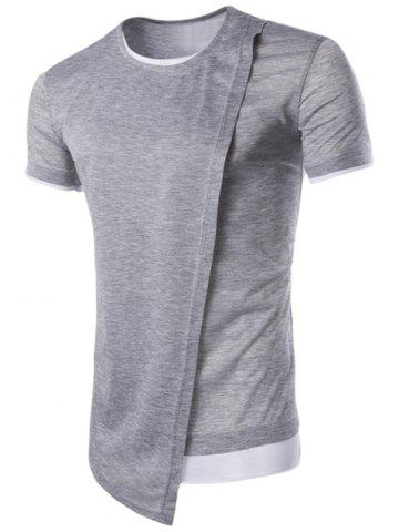 Unique Asymmetric Top Fly Color Spliced Round Neck Short Sleeves Slimming T-Shirt For Men - M LIGHT GRAY Mobile