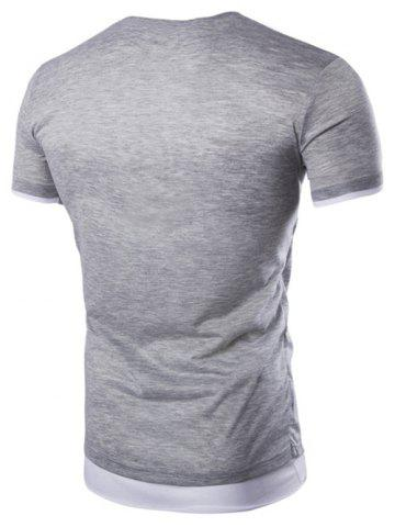 Fashion Asymmetric Top Fly Color Spliced Round Neck Short Sleeves Slimming T-Shirt For Men - M LIGHT GRAY Mobile