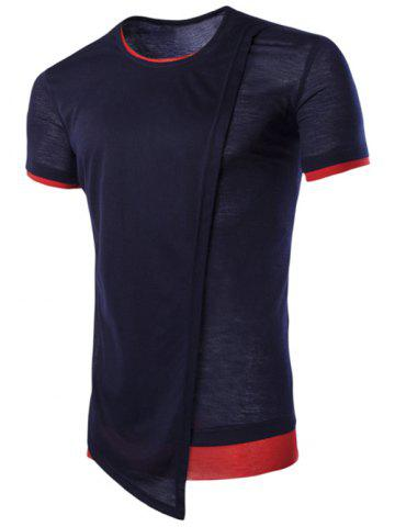 Outfit Asymmetric Top Fly Color Spliced Round Neck Short Sleeves Slimming T-Shirt For Men - M CADETBLUE Mobile