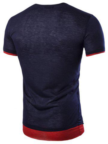 Chic Asymmetric Top Fly Color Spliced Round Neck Short Sleeves Slimming T-Shirt For Men - M CADETBLUE Mobile