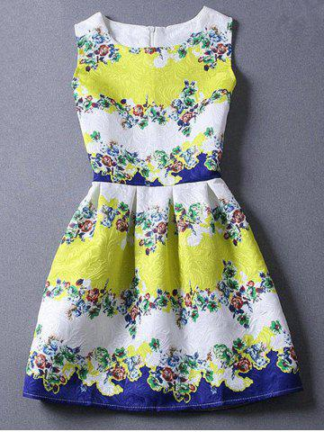 Fancy Cute Round Neck Sleeveless Floral Color Blcck Women's Dress