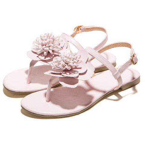Unique Simple Flat Heel and Flower Design Sandals For Women - 39 PINK Mobile