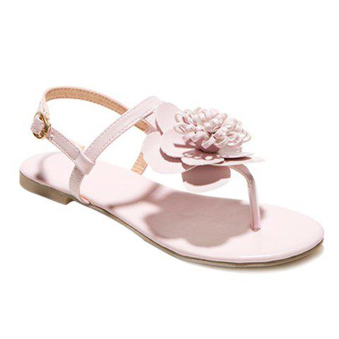 Latest Simple Flat Heel and Flower Design Sandals For Women - 39 PINK Mobile