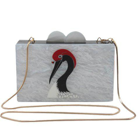 Unique Trendy Crane Bird and Snake Chain Design Evening Bag For Women