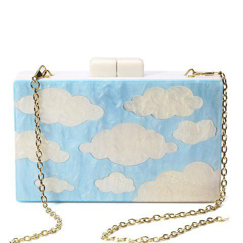 Best Charming Clouds Print and Chains Design Evening Bag For Women