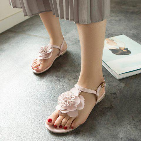 Chic Simple Flat Heel and Flower Design Sandals For Women - PINK 35 Mobile