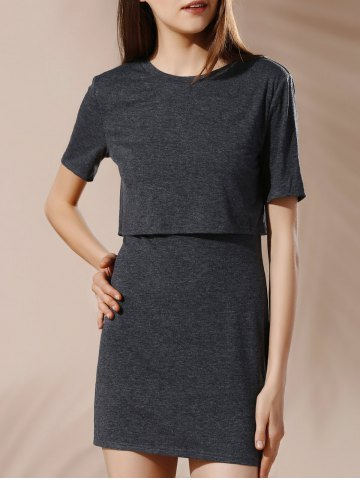 Fancy Backless Solid Color Overlay Dress BLACK GREY L