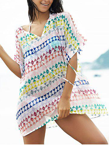 Latest Stylish Plunging Neck Bat-Wing Sleeve Loose Geometric Print Women's Cover Up