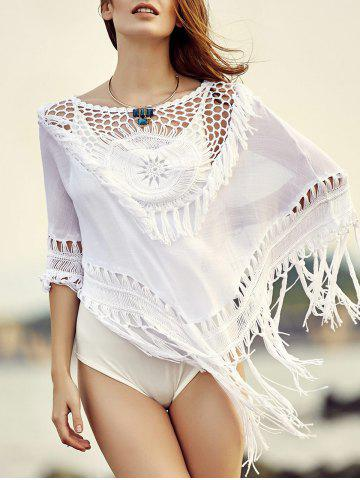 Affordable Stylish Round Neck Cowl Tassels Cut Out Women's Cover Up