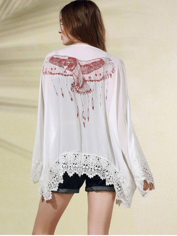 Shop Stylish Long Sleeve Eagle Print Women's Cover Up