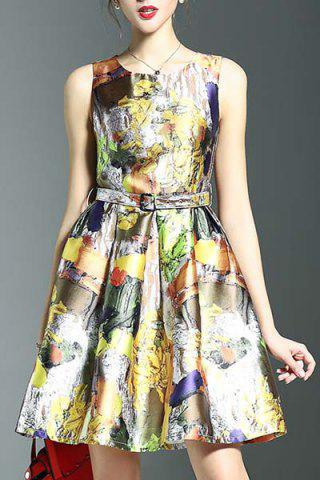 Fancy Stylish Round Neck Sleeveless Belted Printed Women's Dress