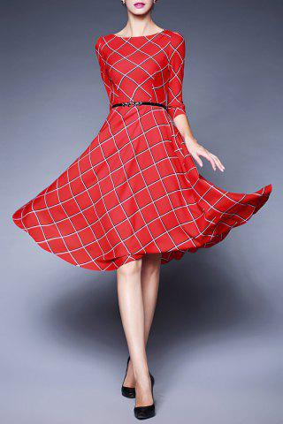 Store Plaid Belted Swing Dress