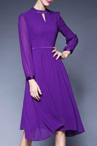 New Midi Long Sleeve Chiffon Dress