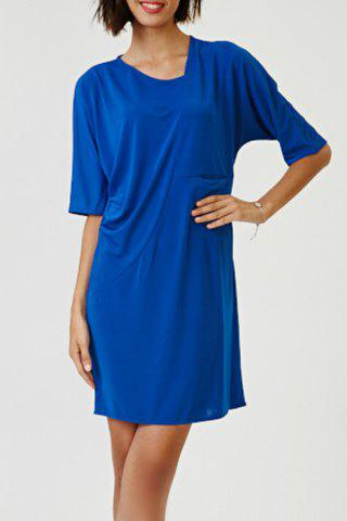 ONE SIZE(FIT SIZE XS TO M) SAPPHIRE BLUE Skew Neck Solid Color Mini Dress