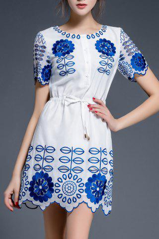 Chic Drawstring Waist Embroidery Dress