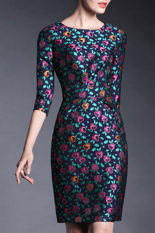 Outfits Floral Jacqurd Sheath Dress