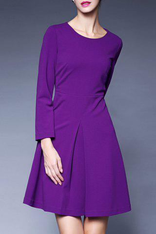 Chic A Line Pleated Long Sleeve Dress