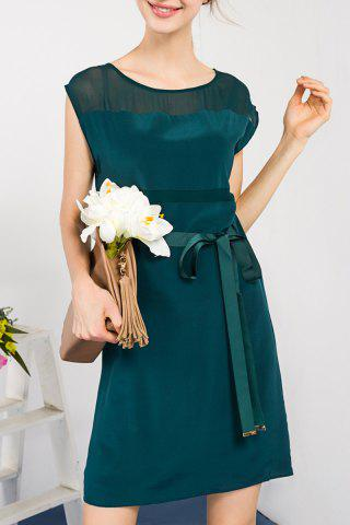Fancy Solid Color Waist Tied Dress