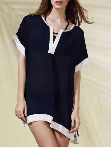 Hot Stylish Plunging Neck Color Block Women's Cover Up Dress