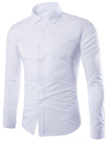 Shops Turn-Down Collar Solid Color Slimming Long Sleeve Shirt For Men