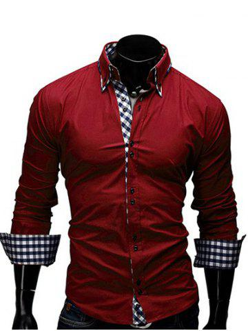 Best Checked Splicing Design Casual Button Down Shirt RED L