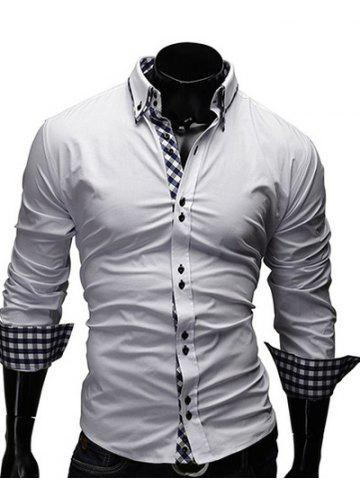 Discount Checked Splicing Design Casual Button Down Shirt - WHITE L Mobile