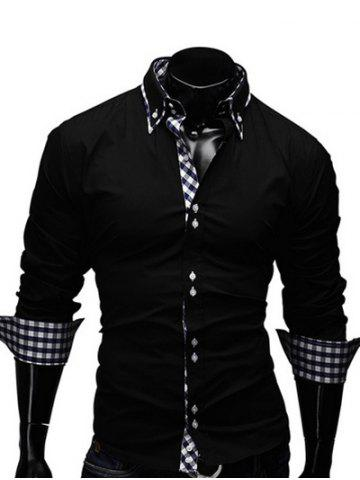 Best Checked Splicing Design Casual Button Down Shirt BLACK L