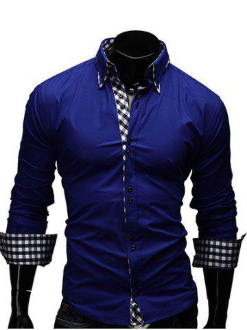 Sale Checked Splicing Design Casual Button Down Shirt SAPPHIRE BLUE L