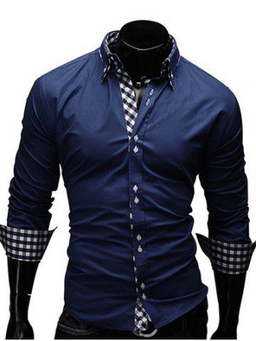 Chic Checked Splicing Design Casual Button Down Shirt CADETBLUE 2XL