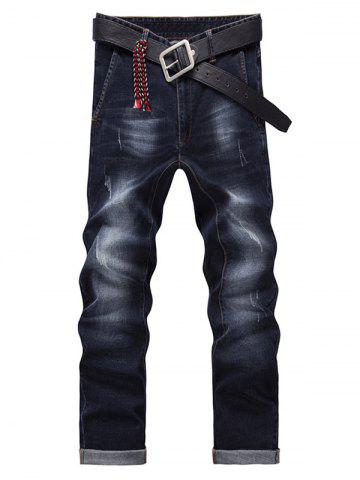 Men's Fashion Zip Fly Straight Legs Cropped Jeans - BLACK GREY 32