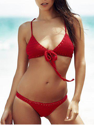 Outfit Women's Stylish Wine Red Hollow Out Bikini