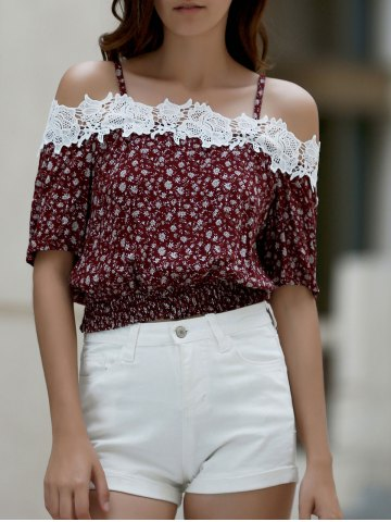 Sale Cami Short Sleeve Tiny Floral Print Cold Shoulder T-Shirt