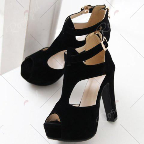Fashion Fashionable Suede and T-Strap Design Sandals For Women - 39 BLACK Mobile