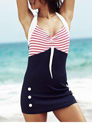 Women's Stylish Halter Polka Dot Hit Color One Piece  Swimwear -