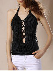 Fashionable Halter Criss-Cross Solid Color Backless Women's Tank Top