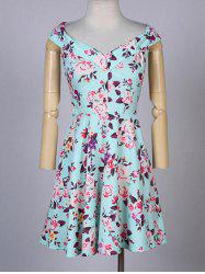 Stylish V-Neck Sleeveless Floral A-Line Dress For Women