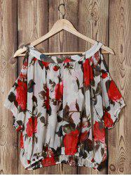 Fashionable Scoop Neck Off-The-Shoulder Floral Print Chiffon Women's Blouse - OFF-WHITE