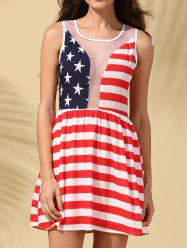 American Flag See-Through Patriotic Dress - RED S