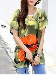 Fashionable Floral Print Loose-Fitting Belted Women's T-Shirt -