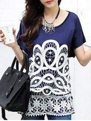Ethnic Style Women's Printed Loose-Fitting Belted T-Shirt - DEEP BLUE ONE SIZE(FIT SIZE XS TO M)