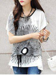 Ethnic Style Printed Loose-Fitting Women's Belted T-Shirt -