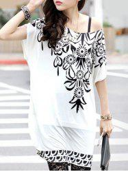 Bohemian Women's Short Sleeve Floral Print Loose-Fitting T-Shirt -